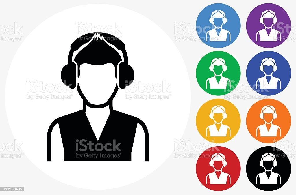 Girl and Headphones Icon on Flat Color Circle Buttons vector art illustration