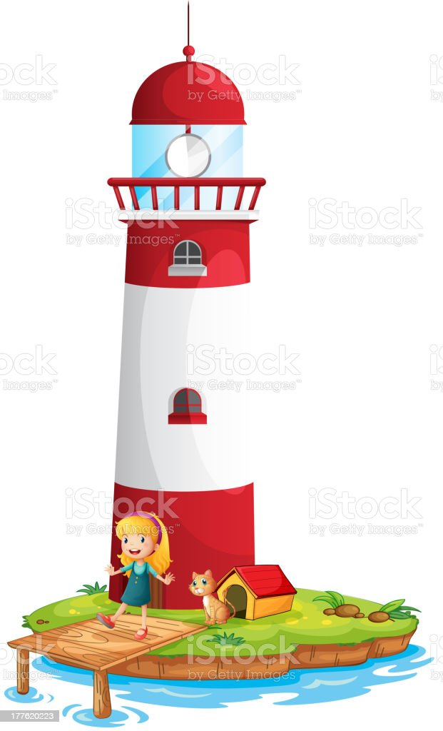 Girl and her cat near the tower vector art illustration