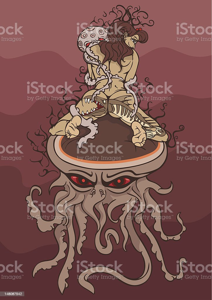 girl and jellyfish royalty-free stock vector art