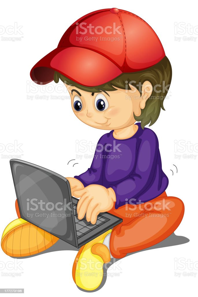 Girl and laptop royalty-free stock vector art