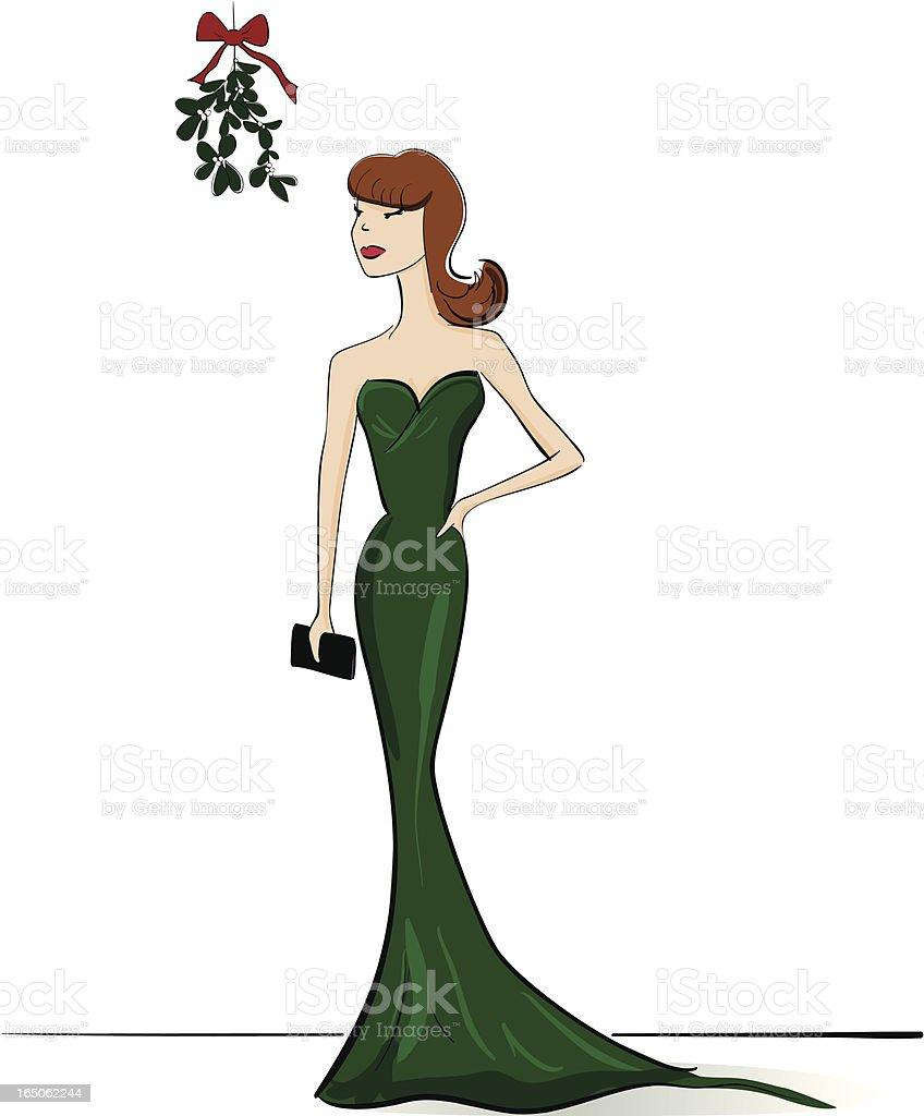 Girl and Mistletoe vector art illustration