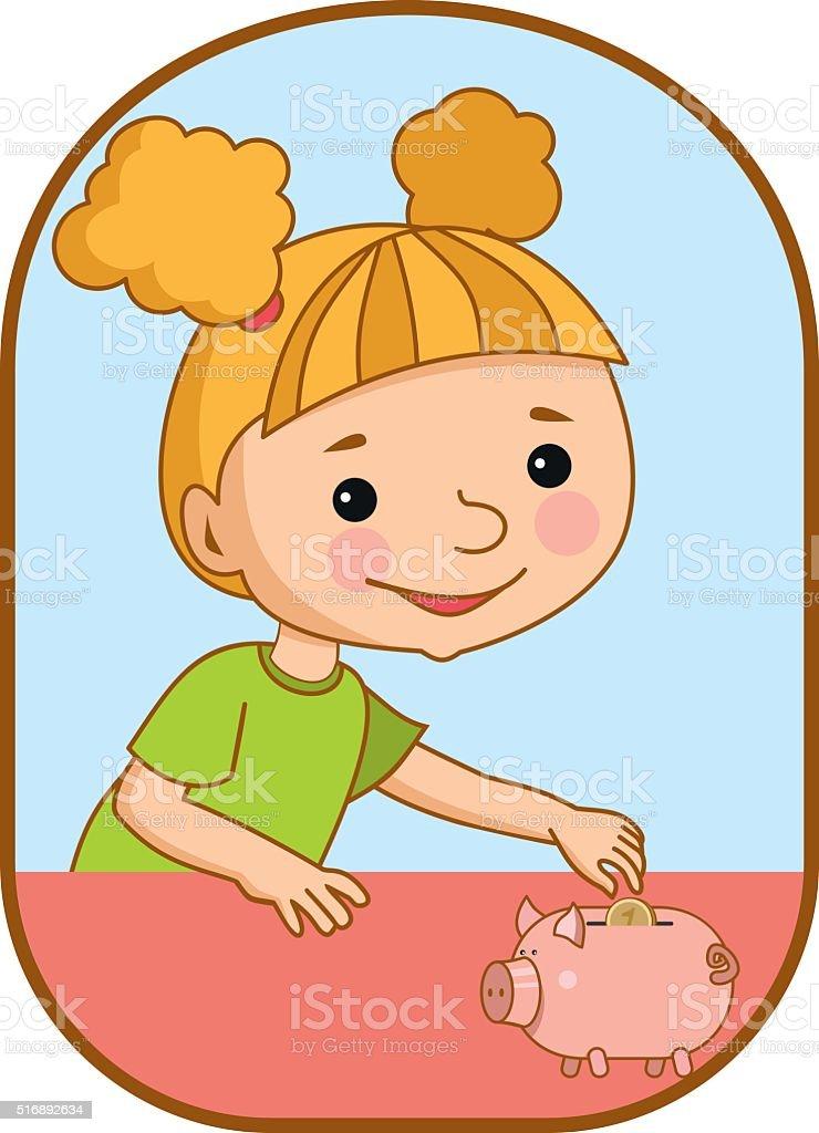 girl and piggy Bank vector art illustration