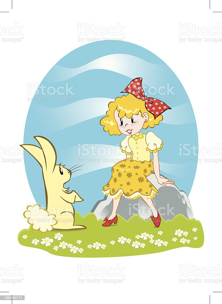Girl and Rabbit royalty-free stock vector art