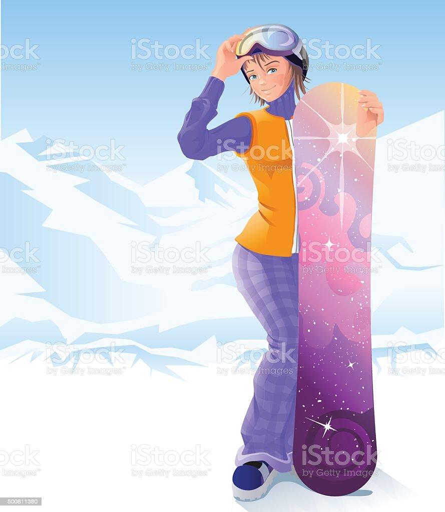 Girl and snowboarding. Winter sport. Illustration in vector format