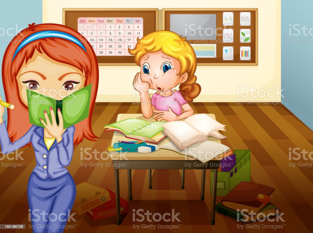 Girl and teacher in classroom royalty-free stock vector art