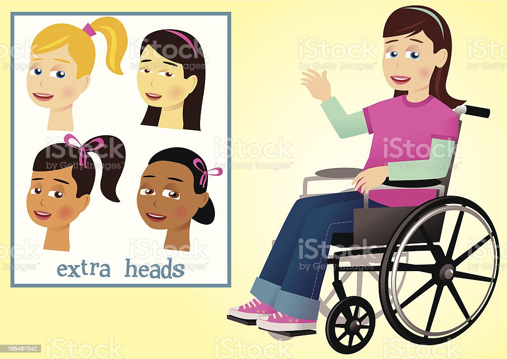 Girl and wheelchair royalty-free stock vector art
