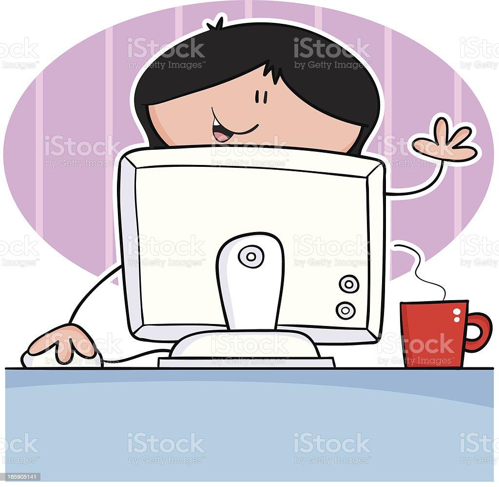 Girl at computer royalty-free stock vector art