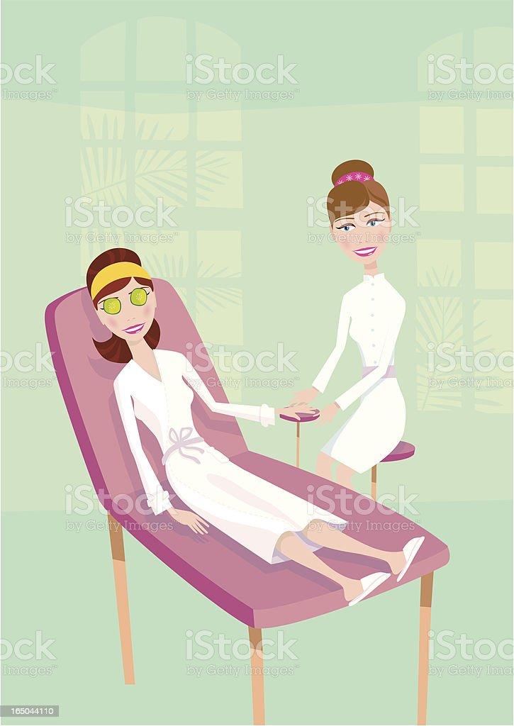 Girl at health spa having a massage royalty-free stock vector art