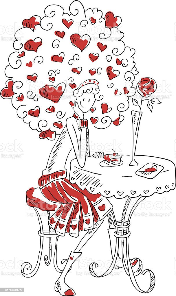 Girl at table in cafe royalty-free stock vector art