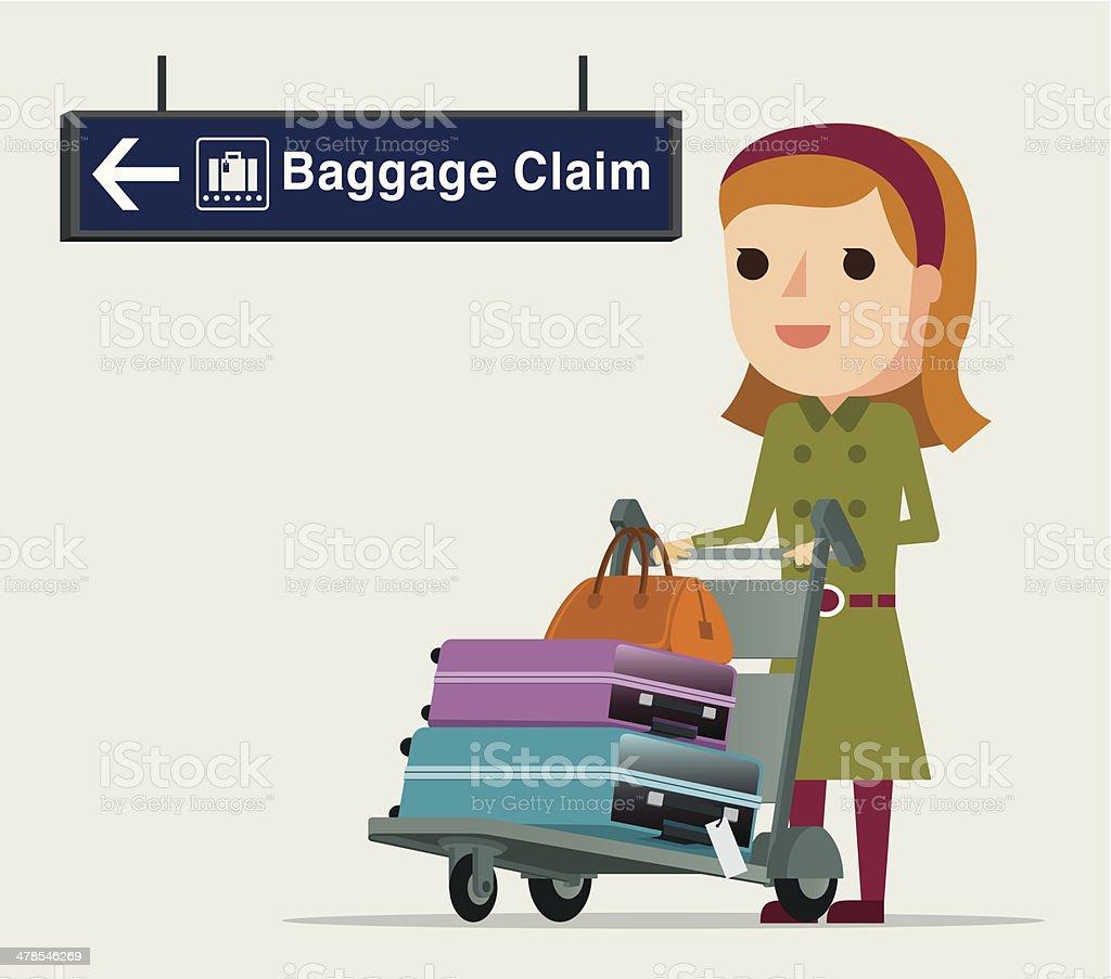 Girl at the Airport - Illustration vector art illustration
