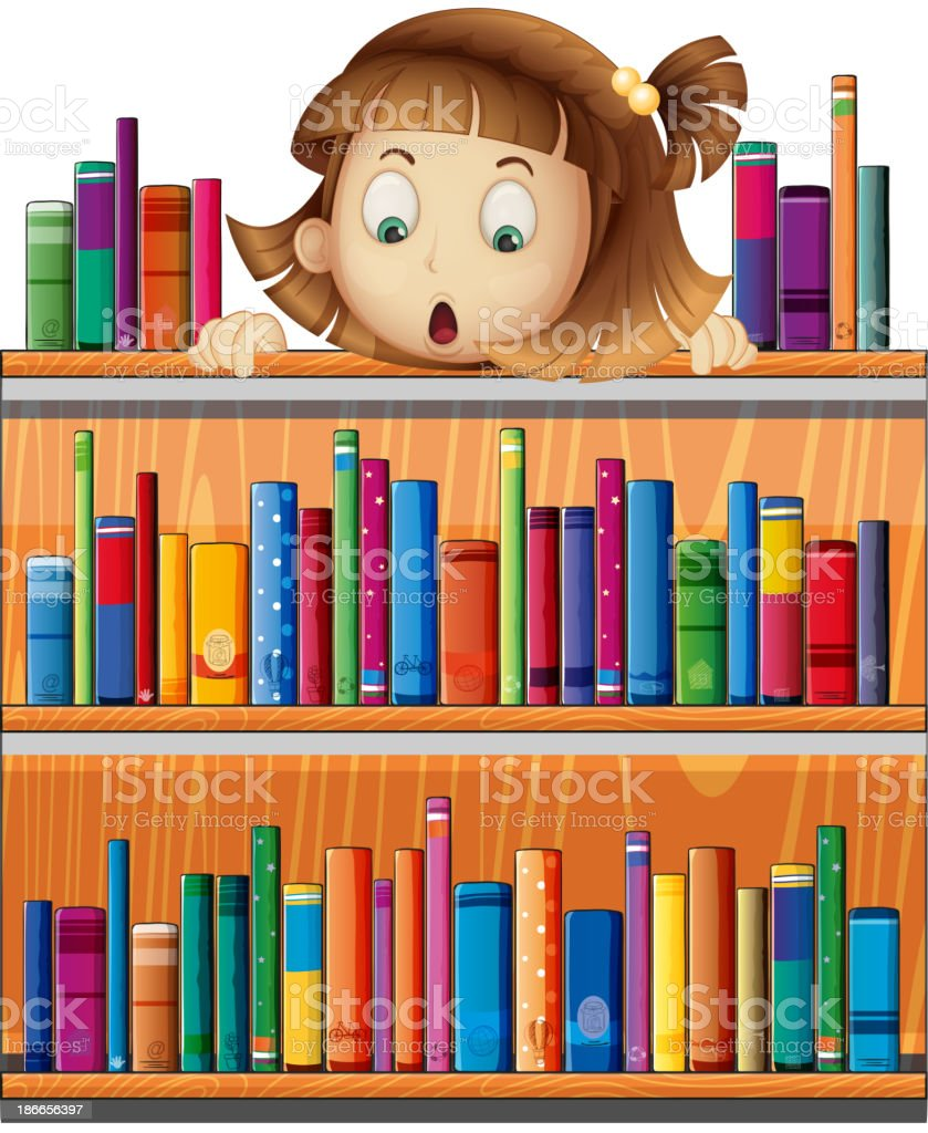 girl at the back of wooden shelves with books royalty-free stock vector art