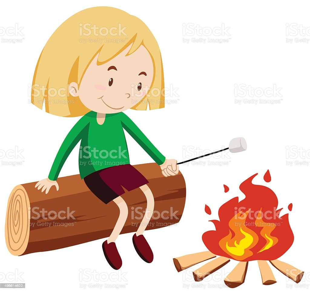 Girl at the campfire vector art illustration