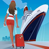 Girl at the pier goes to the ship