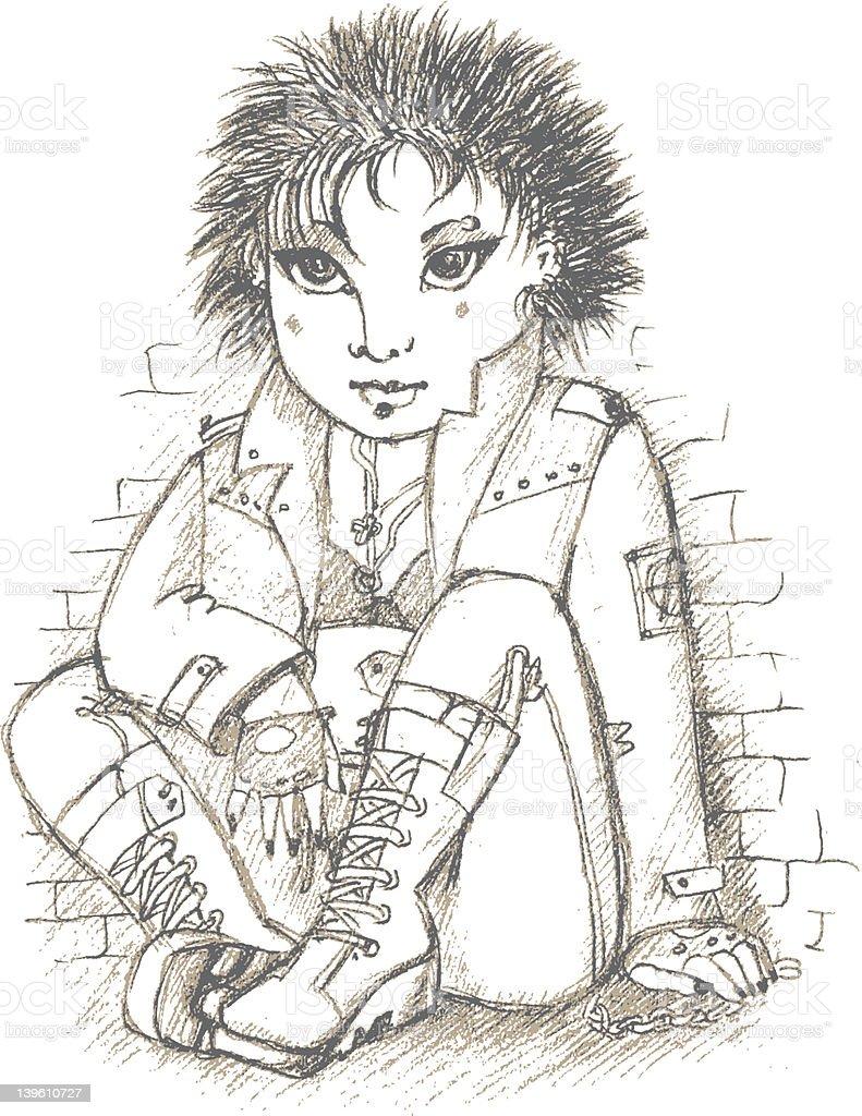Girl at the wall royalty-free stock vector art