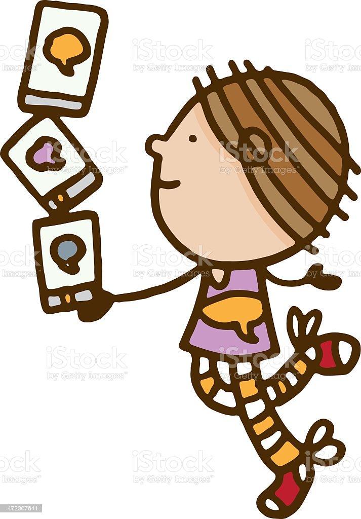 Girl balancing smart phones royalty-free stock vector art