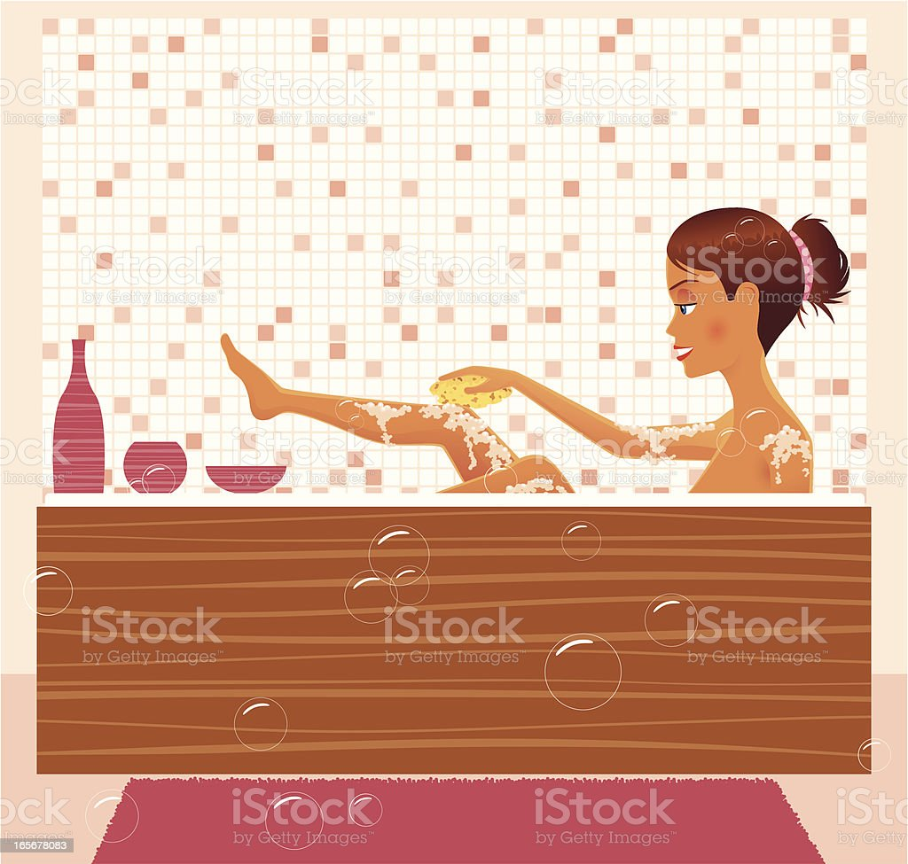 Girl bathing in a bathtub at home royalty-free stock vector art