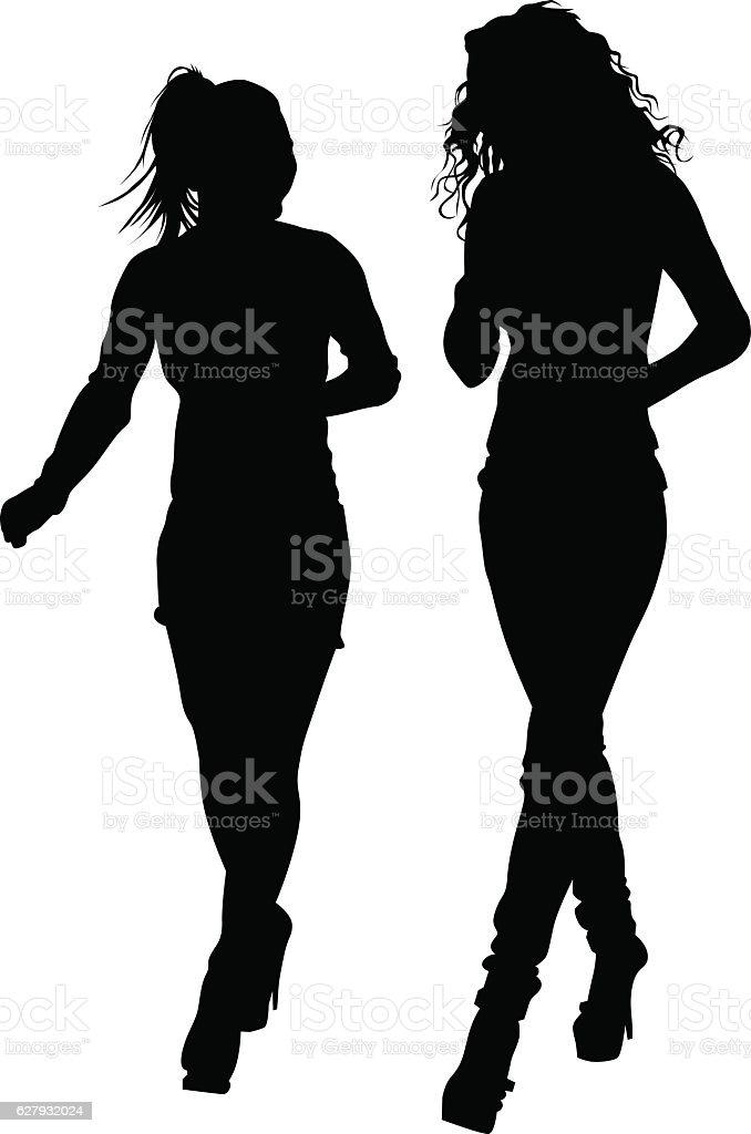 Girl beauty walking vector art illustration