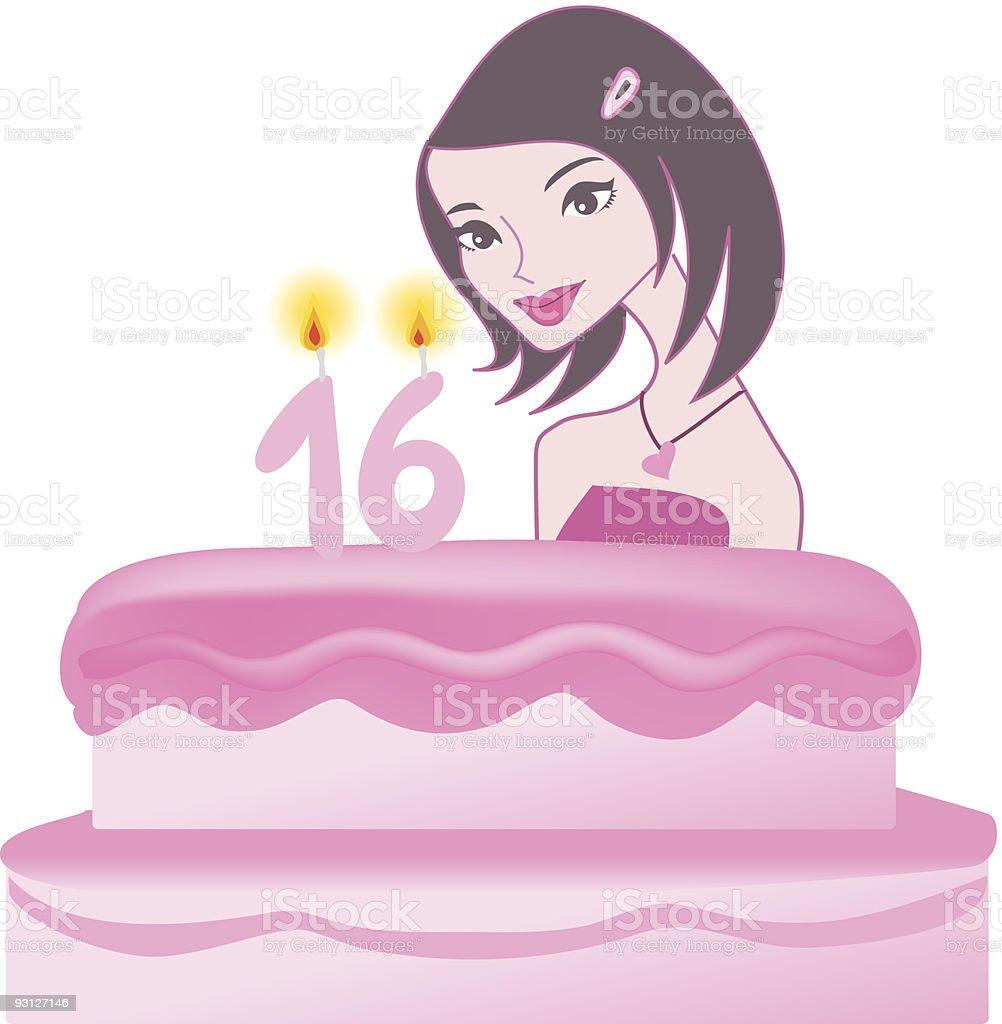 Girl Birthday Illustration royalty-free stock vector art