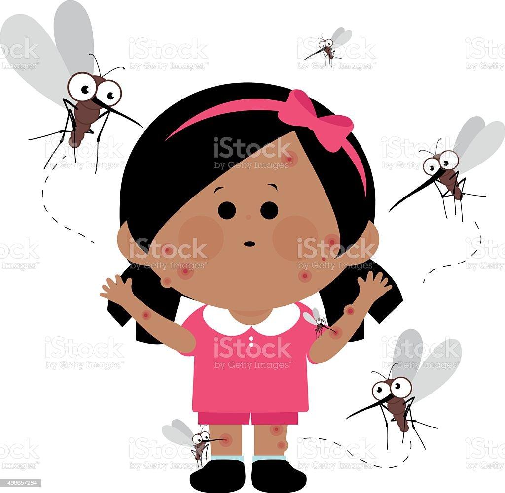Girl bitten by mosquitoes vector art illustration