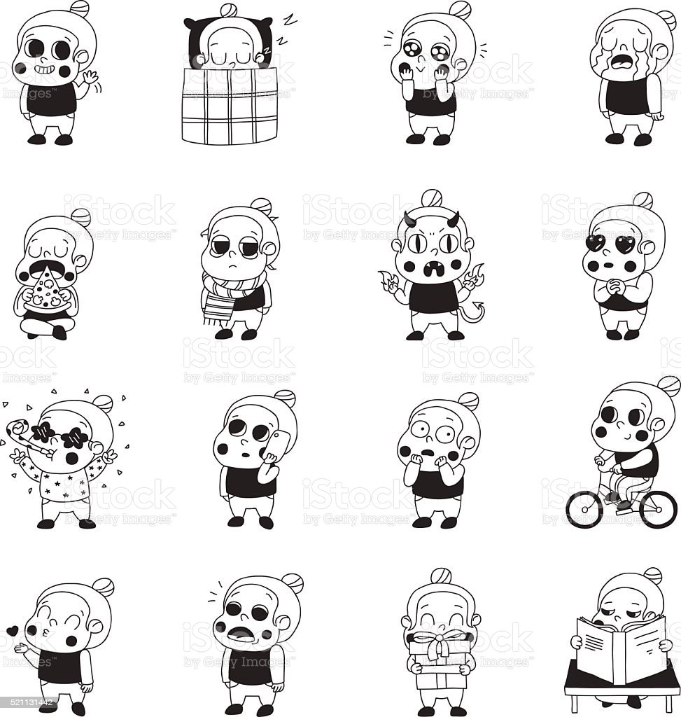 Girl black stickers (emoji) vector set. Naive style. vector art illustration
