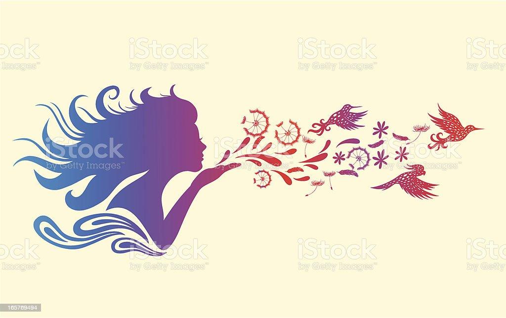 Girl blowing flowers vector art illustration