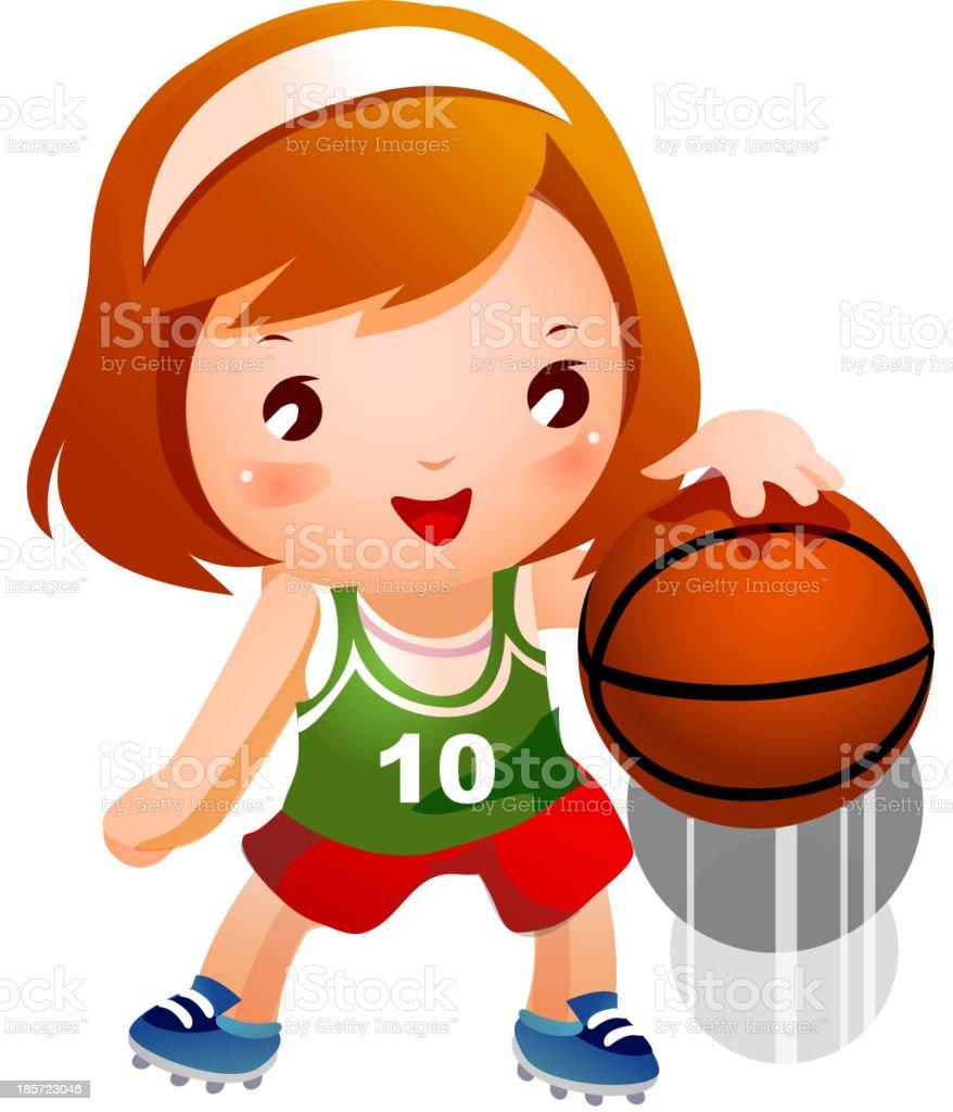 Girl bouncing basketball royalty-free stock vector art