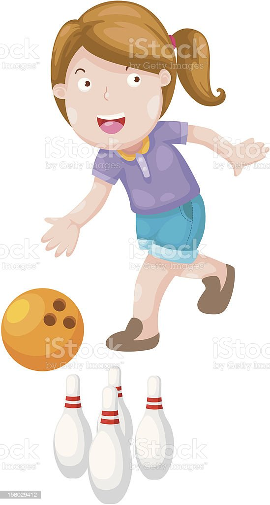 girl bowling royalty-free stock vector art