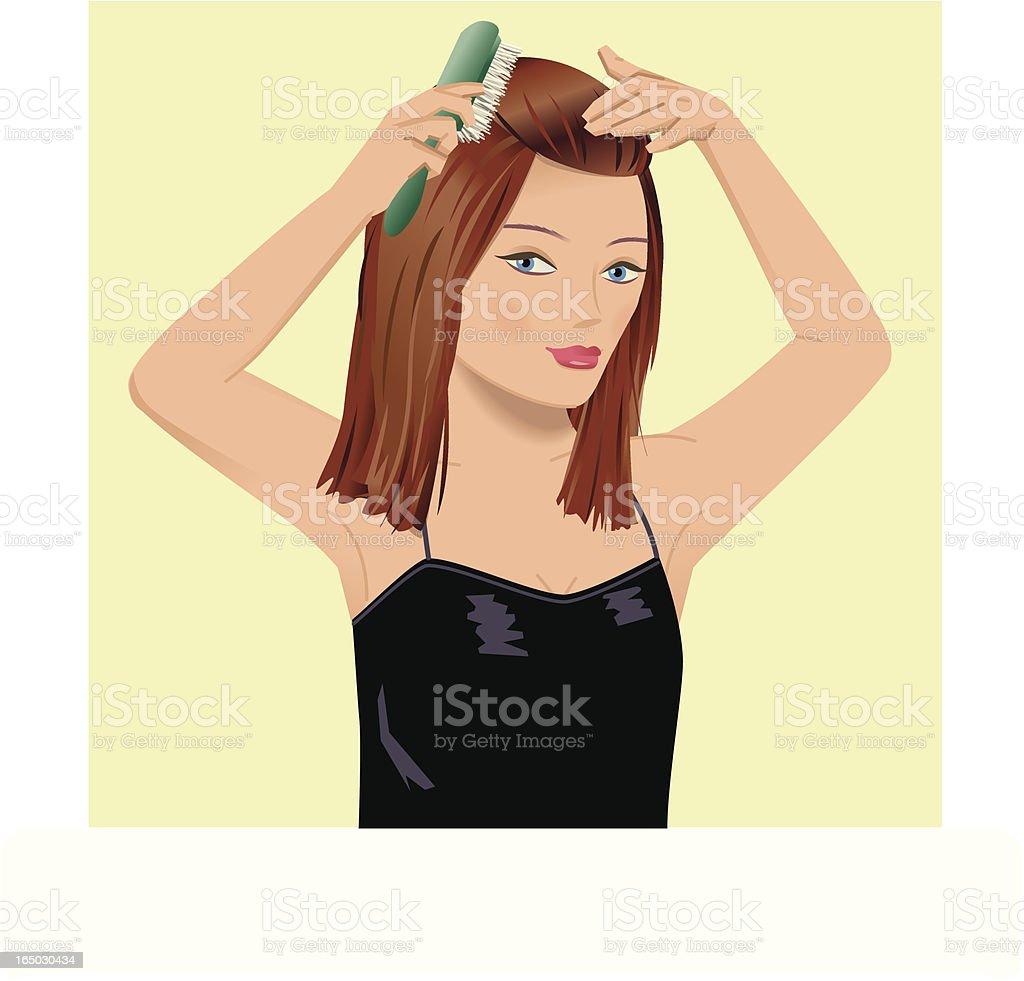 Girl brushing hair royalty-free stock vector art