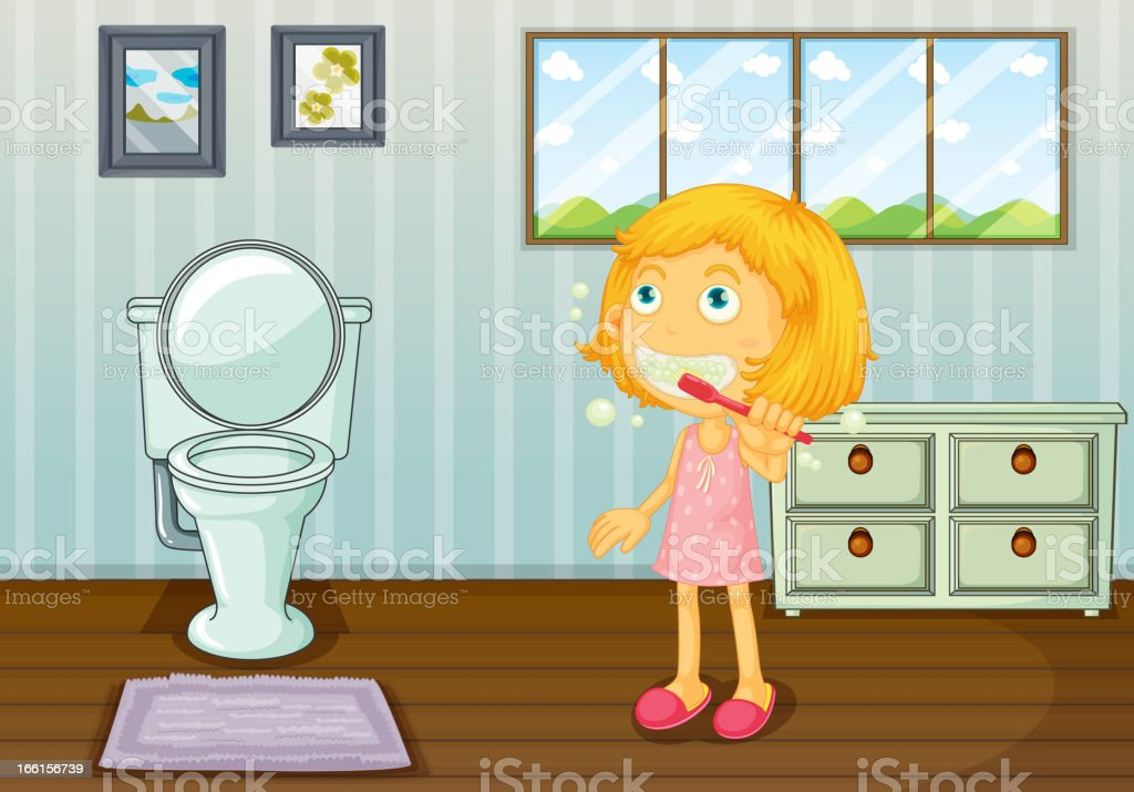 Girl brushing teeth royalty-free stock vector art