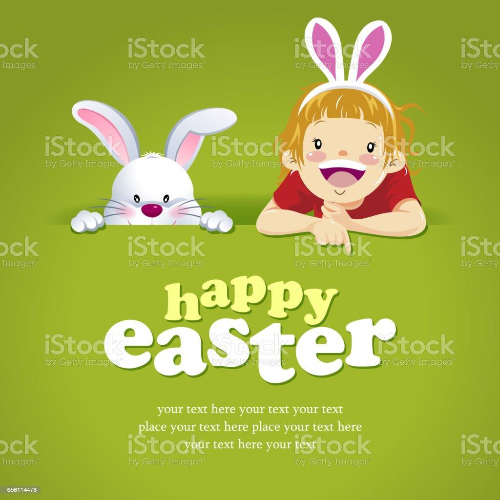 Girl & Bunny Egg Hunt Invitation vector art illustration