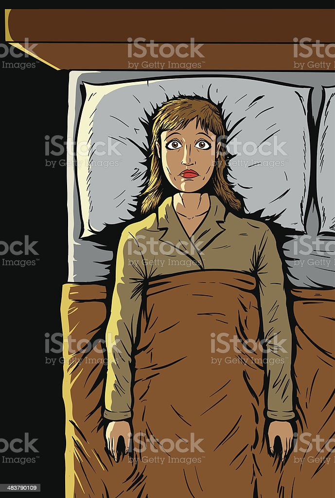 Girl can't sleep vector art illustration