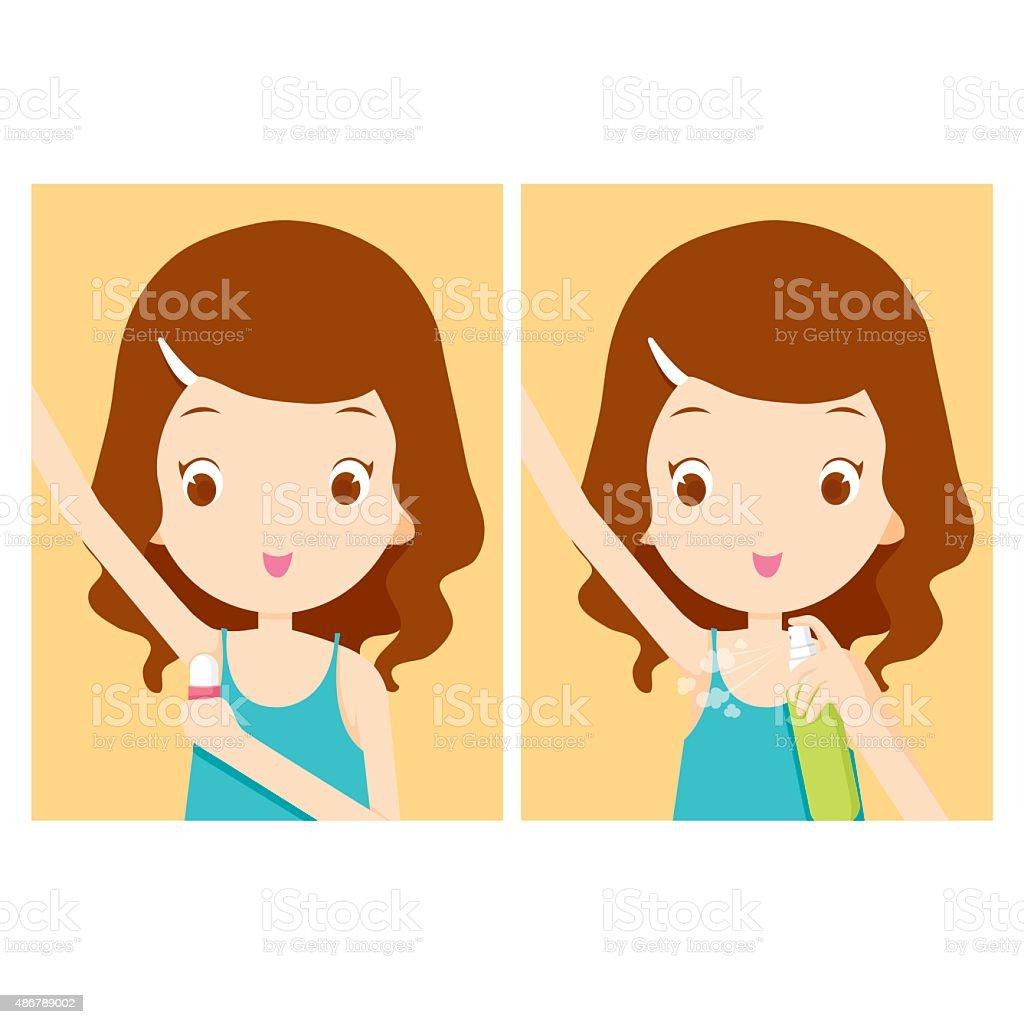 Girl cares armpit with deodorant vector art illustration