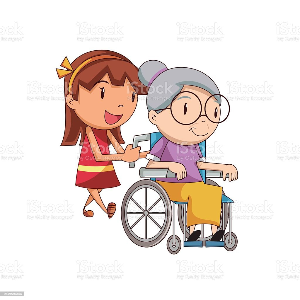 Girl caring old lady vector art illustration