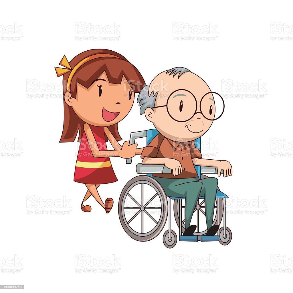 Girl caring old man vector art illustration