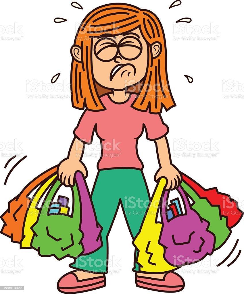 Girl Carrying Heavy Shopping Bags vector art illustration