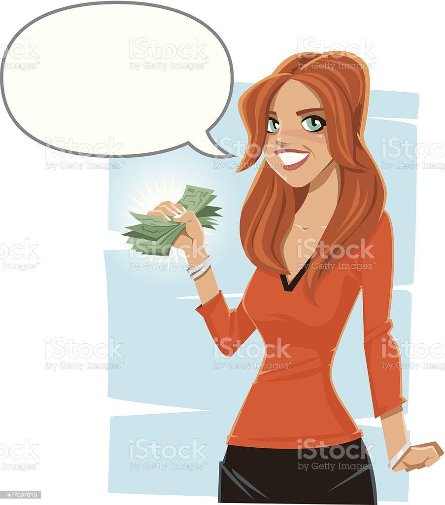 Girl Cash Talk Balloon C vector art illustration