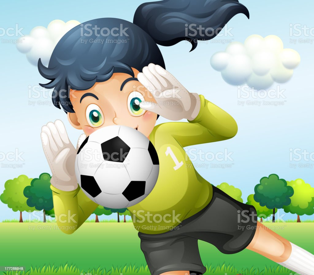 Girl catching a soccer ball royalty-free stock vector art
