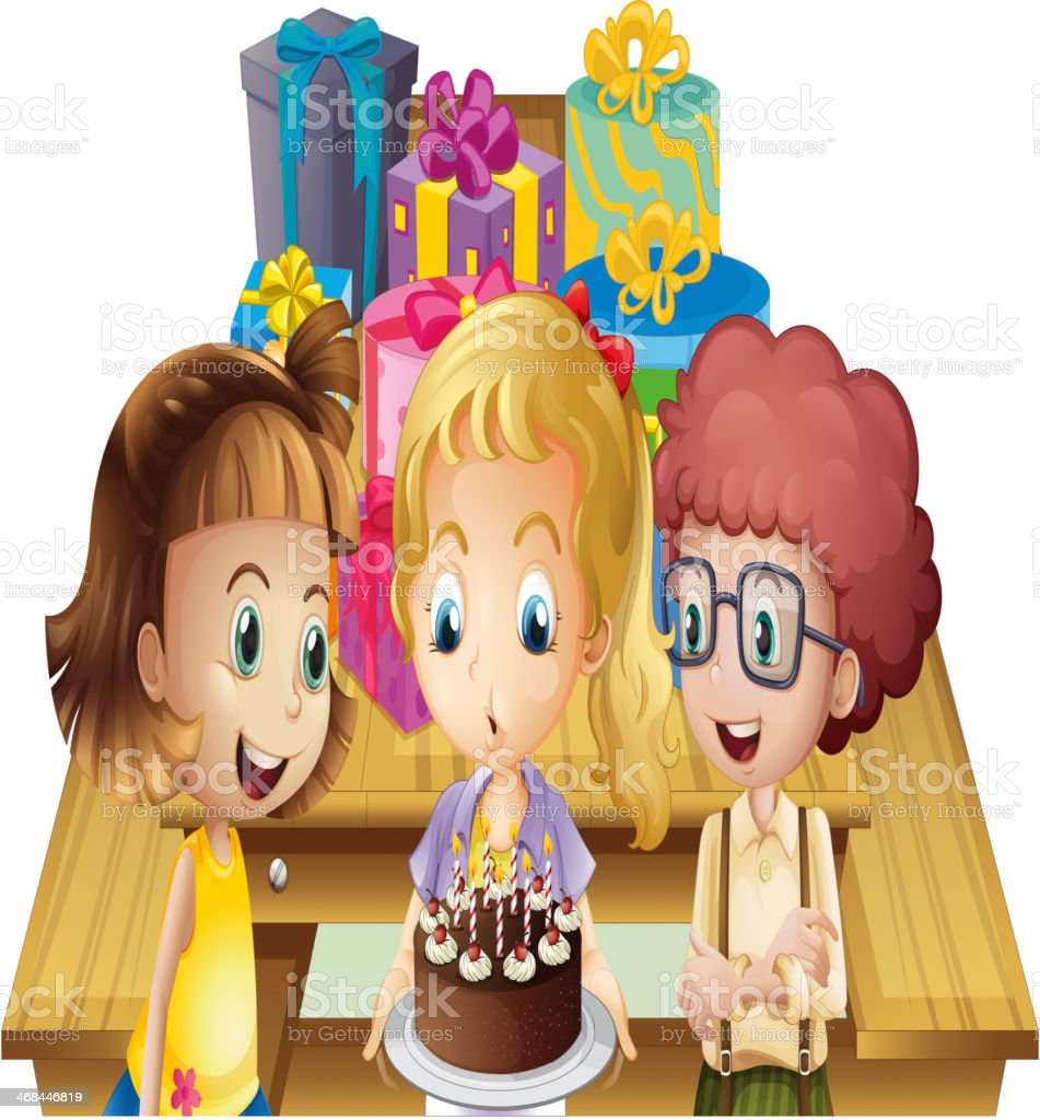 Girl celebrating her birthday with friends royalty-free stock vector art