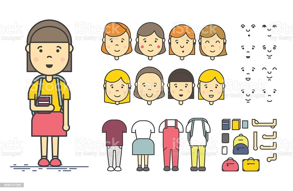 Girl character creation set vector art illustration