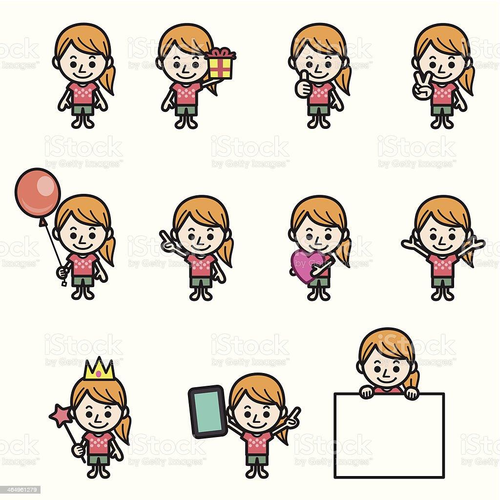Girl character various poses royalty-free stock vector art