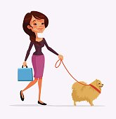 Girl character walking with dog character