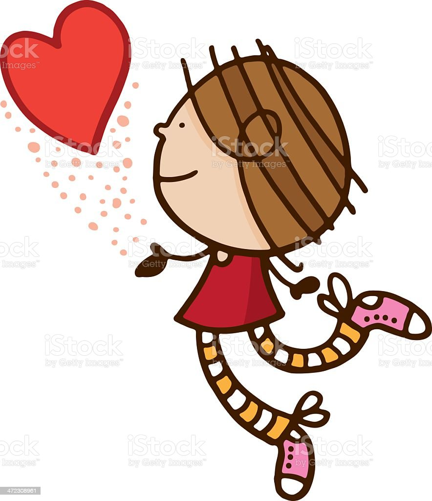 Girl chasing a love heart royalty-free stock vector art
