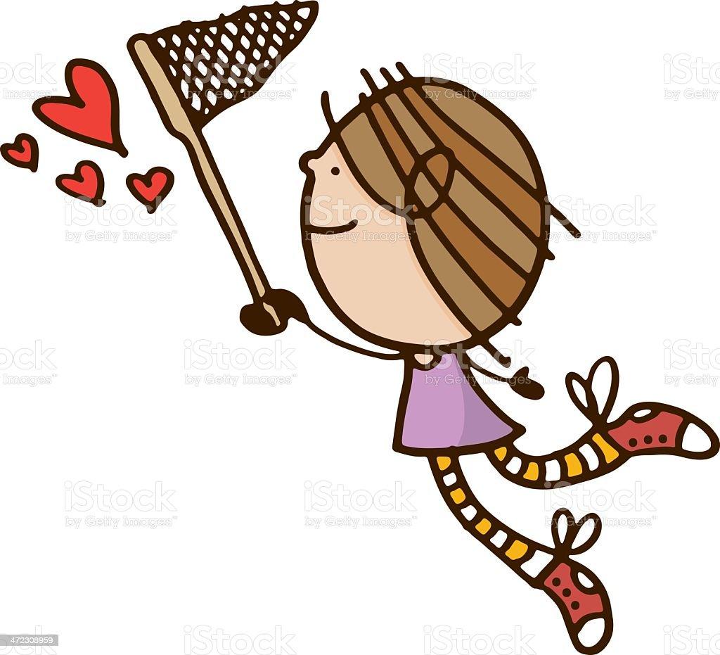 Girl chasing love hearts royalty-free stock vector art