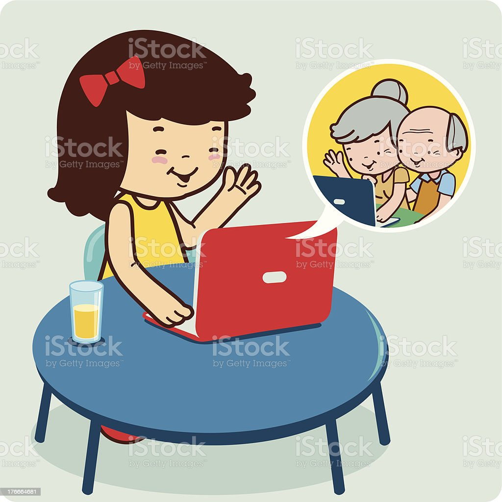 Girl chatting with grandparents royalty-free stock vector art