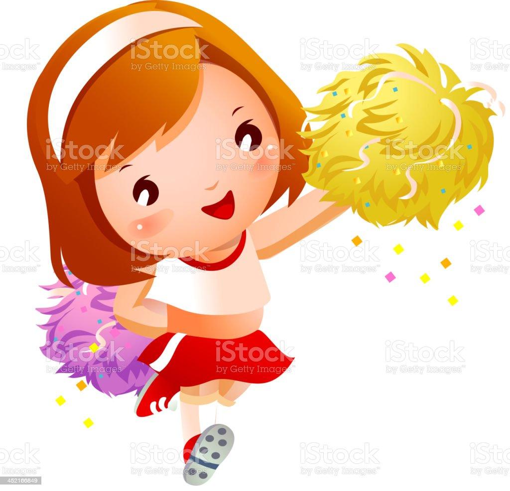 Girl cheerleader in uniforms holding pom-pom royalty-free stock vector art