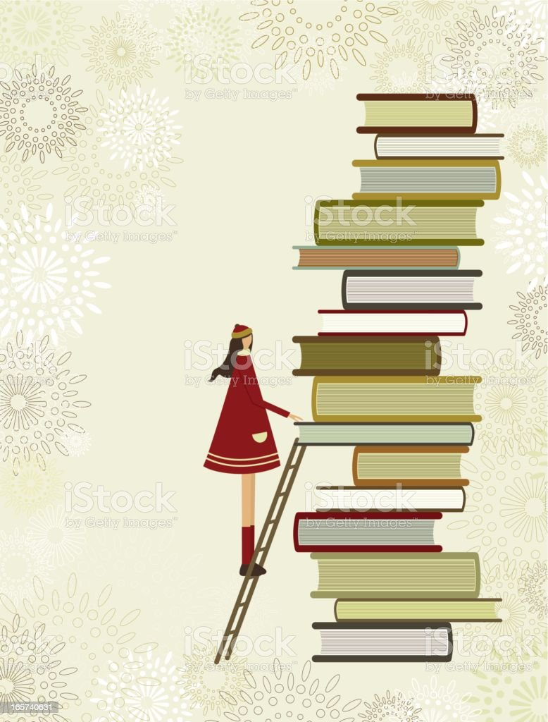 Girl climbing ladder to reach top of stack of books royalty-free stock vector art