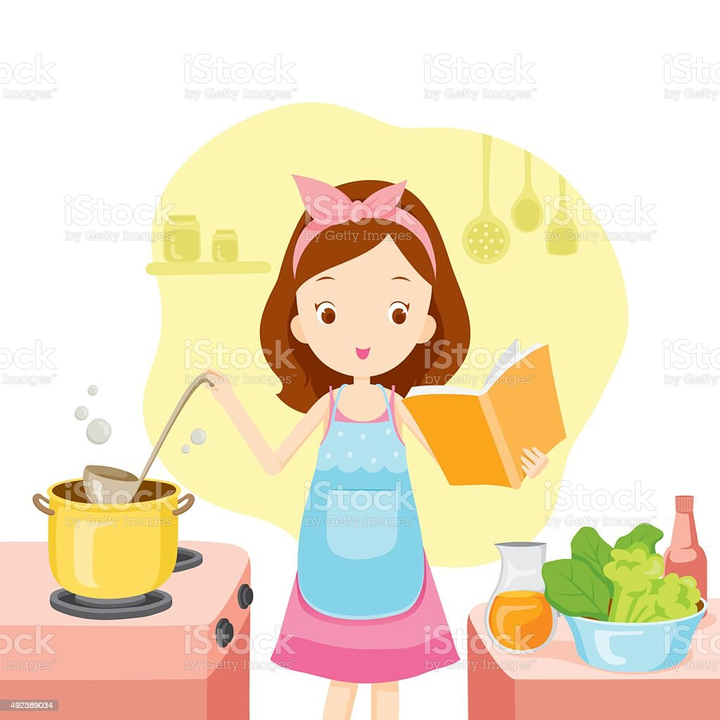Girl Cooking Soup With Cookbook vector art illustration
