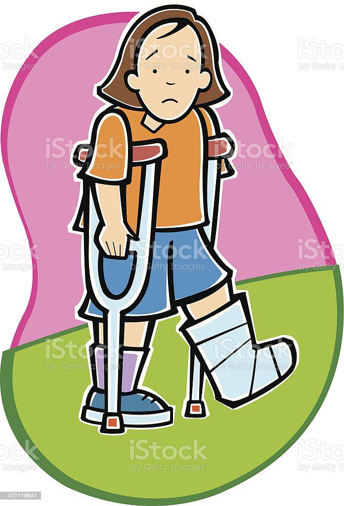 Girl Crutches C royalty-free stock vector art