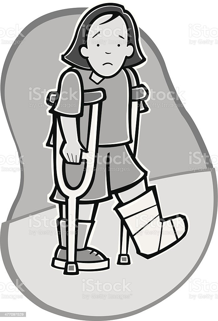 Girl Crutches royalty-free stock vector art