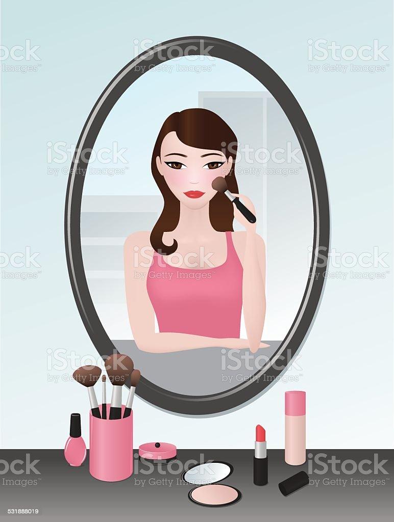 Girl doing her makeup vector art illustration